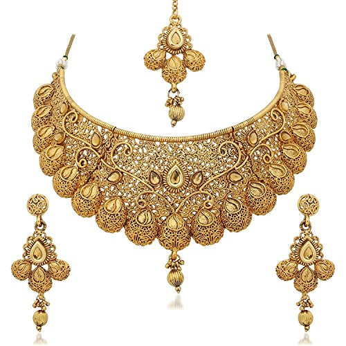 Indian Gold Plated Stones Kundan Necklace Earrings Party: Sukkhi Traditional Gold Plated Kundan Choker Necklace Set