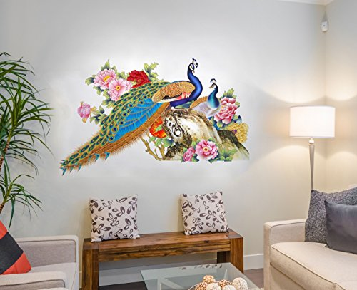 Decal design wall sticker for living room peacock birds - Wall sticker ideas for living room ...